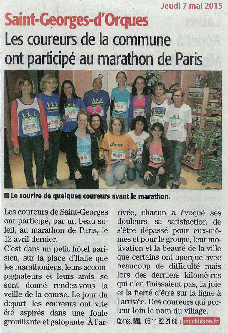 Article marathon paris 2015
